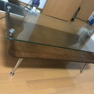 ウッド ガラステーブル
