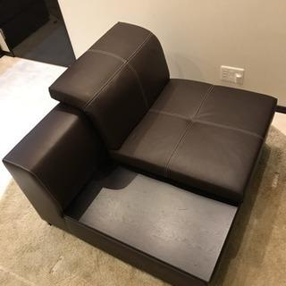 1人掛け本革.合皮リクライニングソファ(サイドテーブル付き)