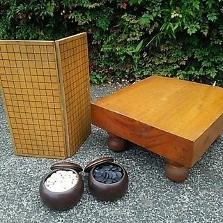 囲碁 脚付き碁盤と折りたたみ碁盤と碁石のセット