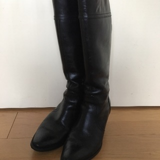 本革 編み上げロングブーツ(24.0cm)