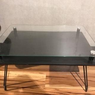 【再値下げ‼︎】ガラス天板!クール系テーブル