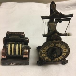 希少レトロ ゼンマイ時計、レジ 置物 真鍮?銅? 2台セット