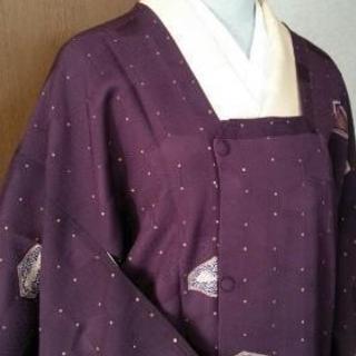 👘正絹 紫紺地にドット 道行コート★