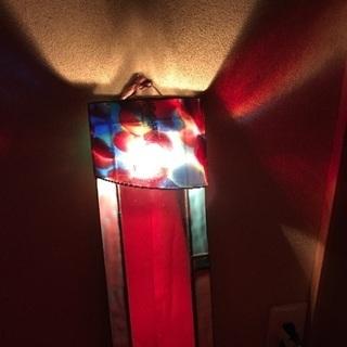 電球付ミラー ステンドグラス ランプ 鏡
