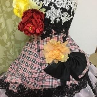 フリルとリボンのカラードレス 新品未使用