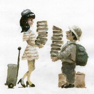 一箱古本市「おじさんとお嬢さん」