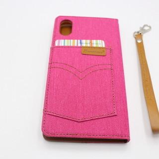 iPhoneⅩ (アイフォンⅩ) スマホケース おしゃれなデニムカバー 外側にもカードが入れれる珍しいタイプ HANMAN ピンク   - 携帯電話/スマホ