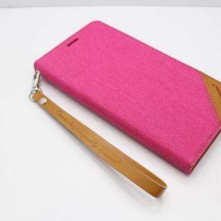 iPhoneⅩ (アイフォンⅩ) スマホケース おしゃれなデニムカバー 外側にもカードが入れれる珍しいタイプ HANMAN ピンク   − 愛知県