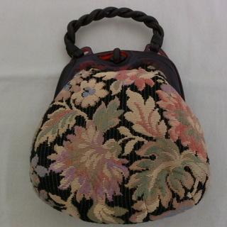 レトロ ゴブラン織り×革ハンドバッグ ゴブラン織りがま口バッグ 値下げ