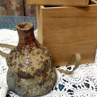 《★美品!益子焼一輪挿し2種》★花器・花瓶:桐箱入り2点まとめて!