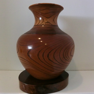 台座付き木製花瓶 値下げ フラワーベース 花器 置物 木の花瓶