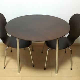 ニトリ丸型ダイニングテーブル+椅子2脚セット