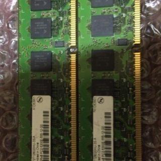 メモリ デスクトップ用DDR2 PC5300 ECC 1GB x 2本