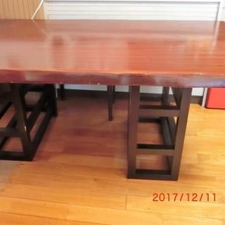 木製ダイニングテーブル 板と台別々...