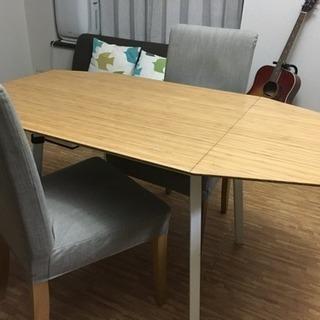 【椅子商談中/机取引可】IKEA 伸長式ダイニングテーブル&椅子2脚
