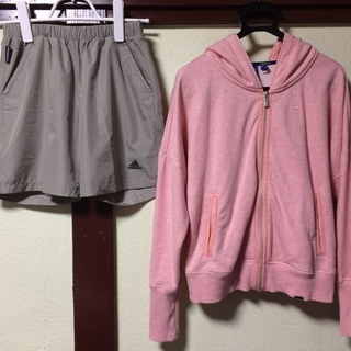 adidas アディダス パーカー(ピンク)&スポーツ用ショートパ...