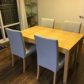 IKEAダイニングテーブル(伸長式)&椅子4脚セット