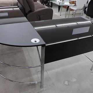 L字 PCデスク 黒/ブラック 天板ガラス製