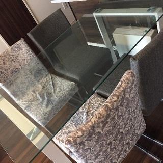 ガラスダイニングテーブルセット