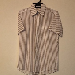 ワイシャツ 半袖シャツ 白×赤ストライプ Sサイズ
