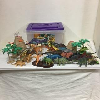 美品 恐竜 ソフビ まとめて 景観付き コンテナボックス付き