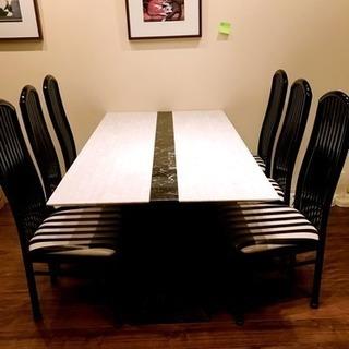 イタリア製大理石テーブル 椅子6脚セット