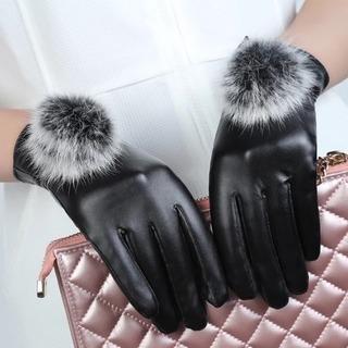 レディース 皮革手袋 黒 タッチパネル 対応 ウサギ 毛玉付き ...