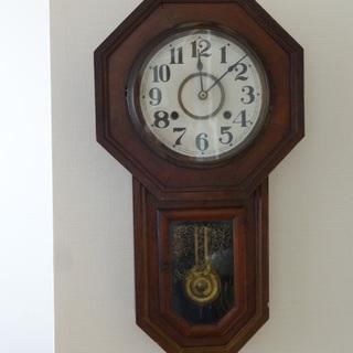 【終了】大正時代 アンティーク 柱八角掛古時計