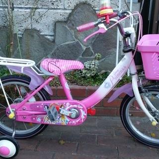 子供用16インチ自転車 ディズニープリンセス 補助輪付き