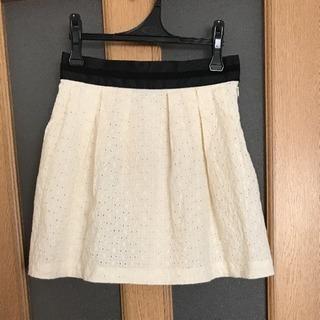*美品groveアイボリー花柄刺繍スカート*