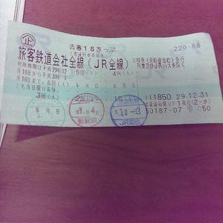 本日限定1000円!青春18きっぷ2回、京都長岡京手渡し可能18切符