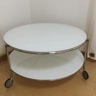 IKEA 円形 ガラステーブル 白 中古