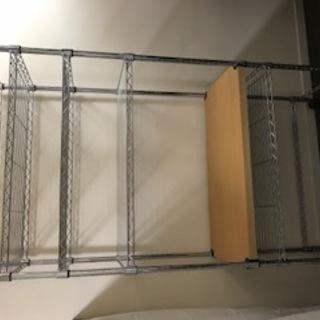 スチールラック ウッディー棚板付き 机としても