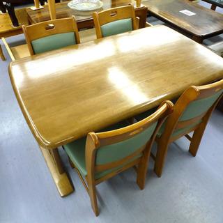 手稲リサイクル 4人掛け ダイニングセット 木目 椅子4脚付 ¥16,800-の画像