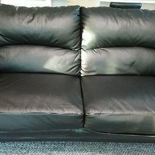 レザー ブラック 3人掛け ソファー  使用年数浅の画像