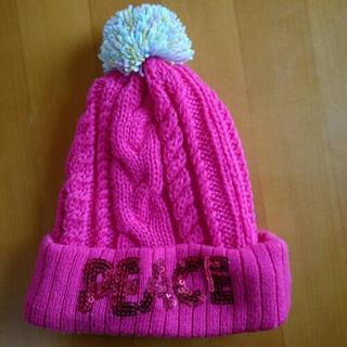 ピンク ニット帽