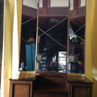 昭和レトロ 三面鏡 旭硝子製 結納 古民家 ディスプレイ