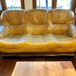 北欧製 本皮 トリプル ソファー 輸入家具 個人出品