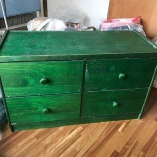 ジャンク品  緑色の収納 鏡付き