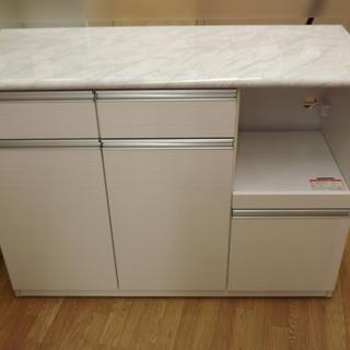 キッチンカウンター 収納  キャスター付き120cm ホワイト  ...