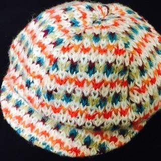 カラフル☆かぎ針編み風 キャスケット帽
