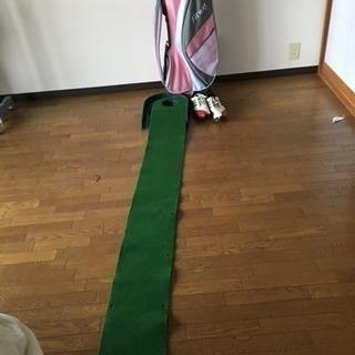 ゴルフバック、パター練習マット、アディダスゴルフシューズ
