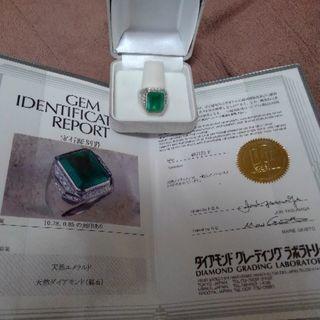 エメラルドダイヤ取り巻きPt台メンズリング