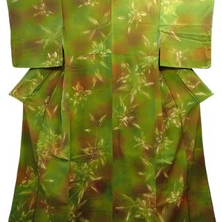 ♪小紋 椿 緑/茶 身丈151cm 未使用♪