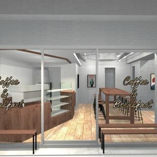 駅徒歩20秒 オシャレ、モダンな新築、新店舗カフェでコーヒーを入...