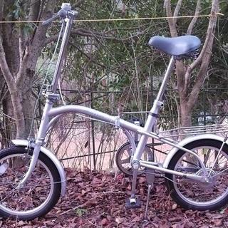 中古自転車◆16インチ◆折畳◆コンパクト◆色シルバー◆タイヤ良好