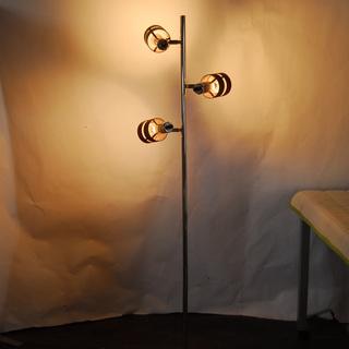 フロアスタンド 3灯スポットライト ウッドシェード 電球付