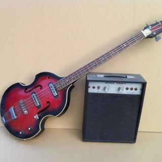 ・ エレキ ベースギター と アンプ (バイオリン型)