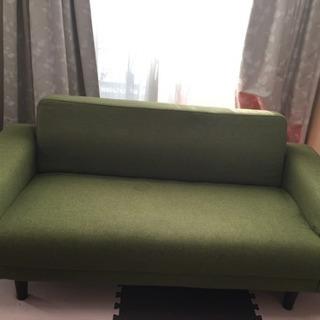 終了【訳あり】グリーンのソファ