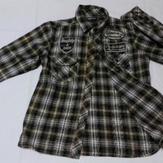 グレー 金糸チェックシャツ